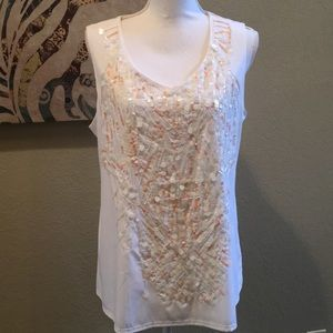Coldwater Creek | White Sequined Tank
